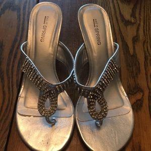 Silver rhinestone embellished thong sandals